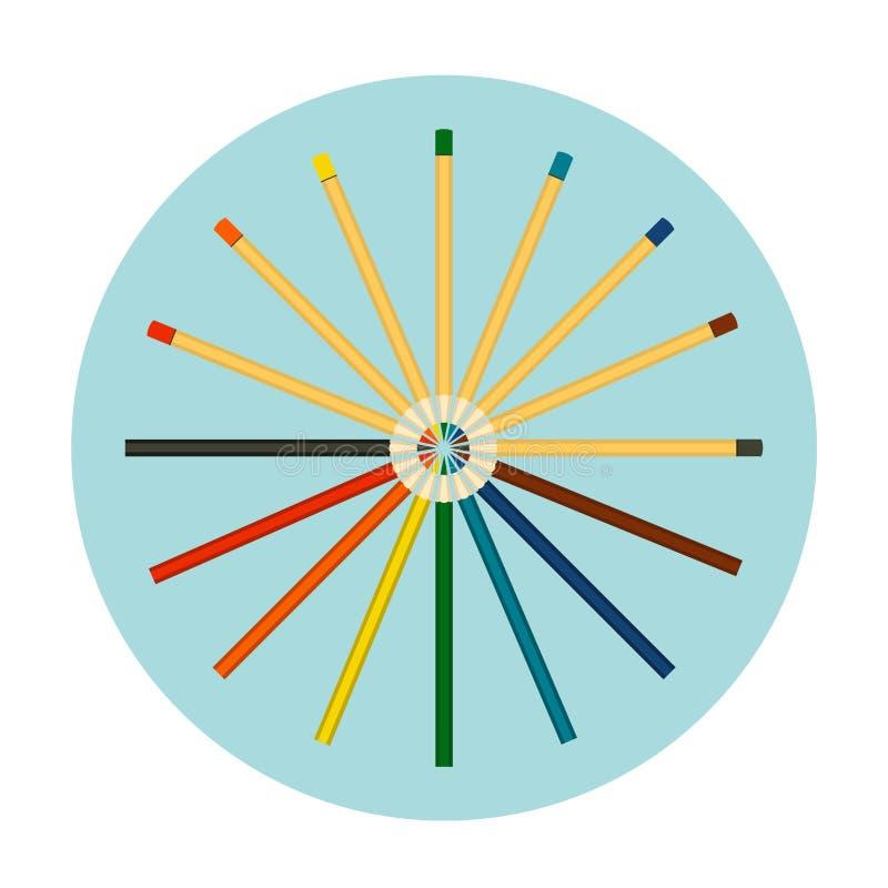Ensemble de crayons colorés d'isolement sur le fond bleu Graphisme de vecteur illustration de vecteur