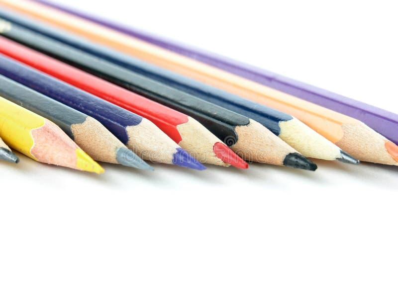 Ensemble de crayons colorés sur le fond blanc Photo avec l'espace de copie images stock