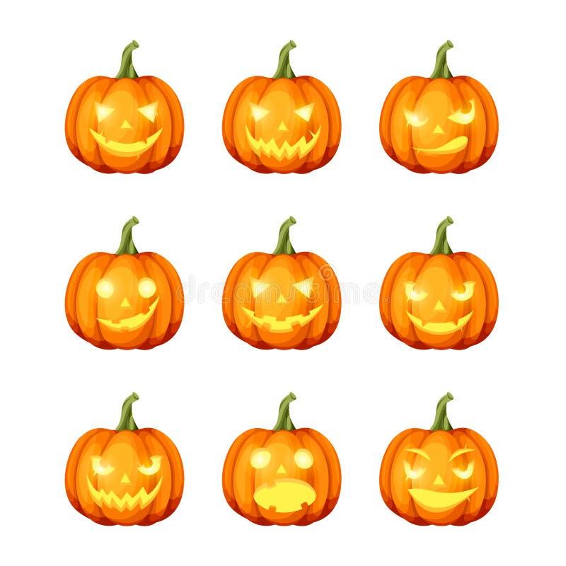 Ensemble de ` de cric-o - potirons de Halloween de lanternes Vecteur EPS-10 illustration stock