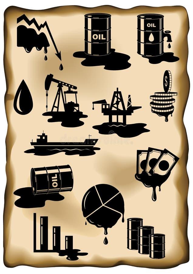 Ensemble de crise pétrolière Chute de prix du pétrole, flaque de pétrole, plate-forme pétrolière illustration de vecteur