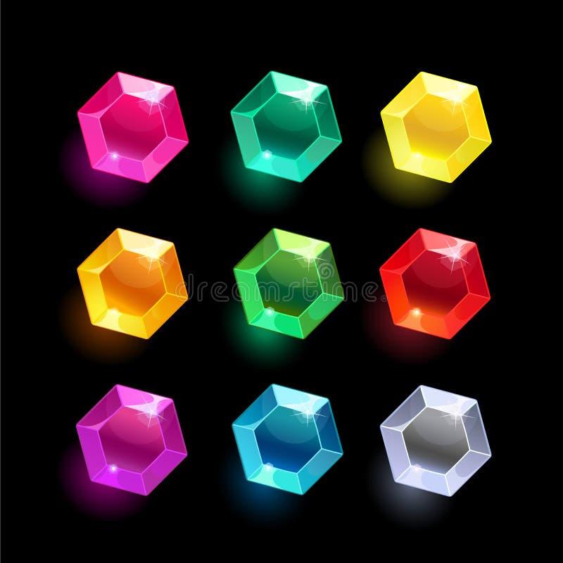 Ensemble de cristal différent de couleur d'hexagone de bande dessinée illustration libre de droits