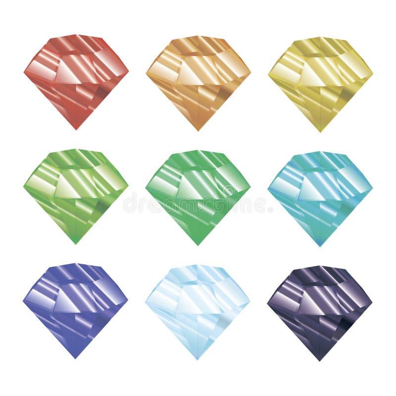 Ensemble de cristaux colorés Illustration de vecteur Bijou facetté image stock