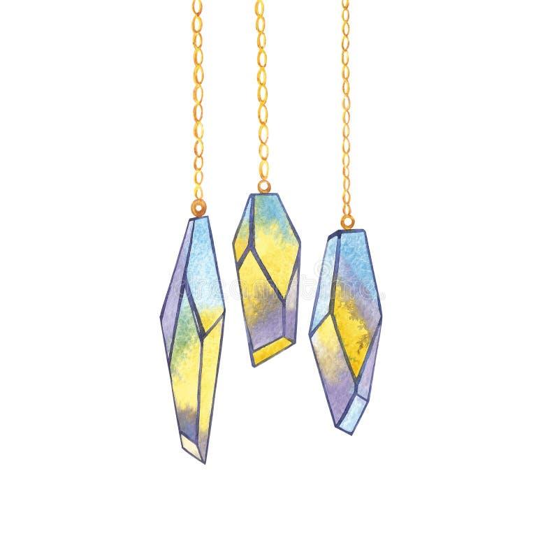 Ensemble de cristaux géométriques sur la chaîne Logotypes à la mode de hippie Icônes polygonales avec le fond coloré artistique illustration stock