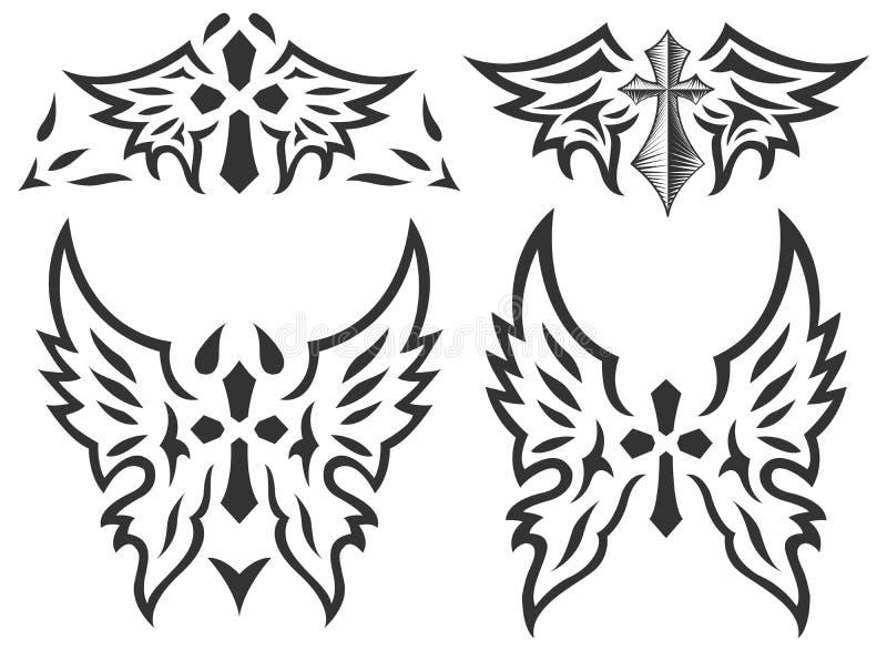 Ensemble de croix et d'ailes - tatouage - vecteur illustration de vecteur