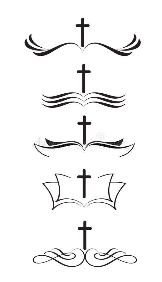 Ensemble de croix et de bible chrétiennes de logos illustration tirée par la main stylisée EPS10 de vecteur de lettrage de callig illustration libre de droits