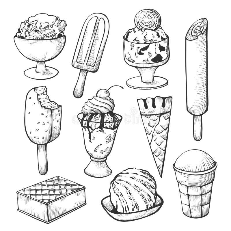 Ensemble de croquis de crème glacée pour le décor de boutique ou de café illustration stock