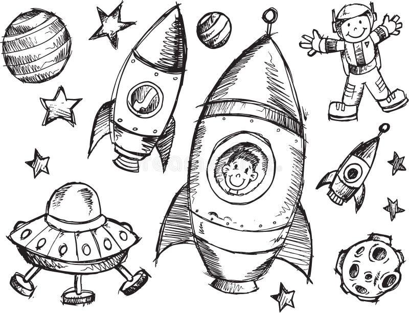 Ensemble de croquis d'espace extra-atmosphérique illustration stock