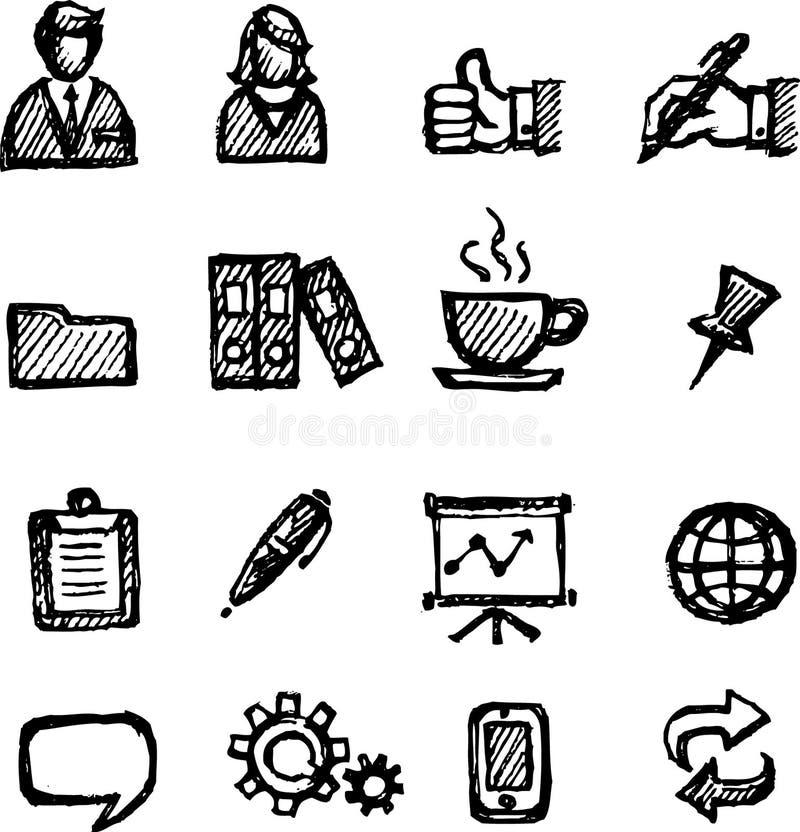 Ensemble de croquis d'icône d'affaires de bureau illustration de vecteur