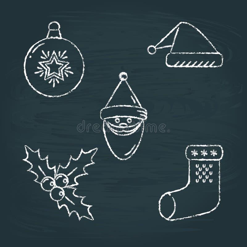Ensemble de croquis d'icônes de Noël sur le tableau illustration libre de droits