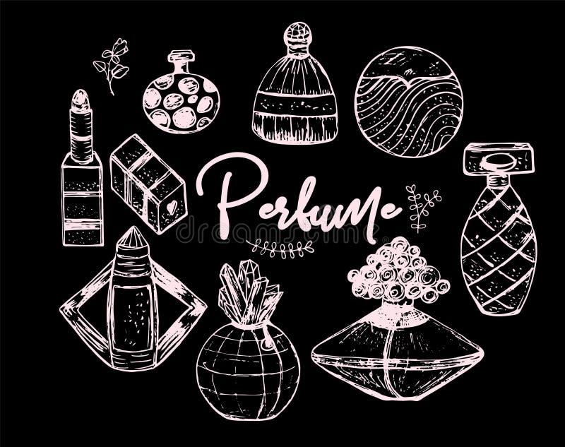 Ensemble de croquis d'illustration de vecteur de bouteilles de parfum illustration de vecteur