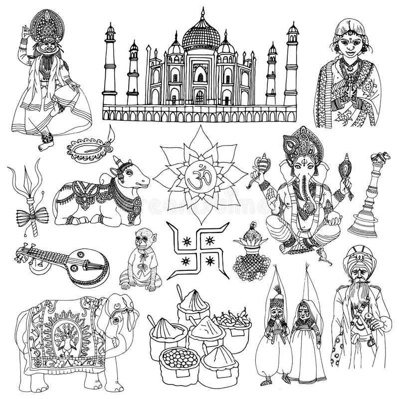 Ensemble de croquis d'Inde illustration stock