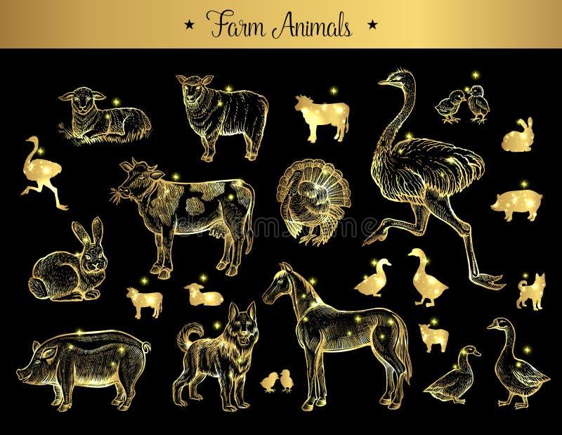 Ensemble de croquis d'isolement de vintage des animaux de ferme illustration libre de droits