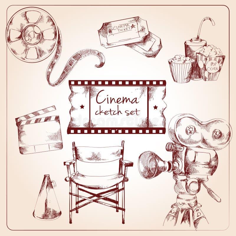 Ensemble de croquis de cinéma illustration de vecteur