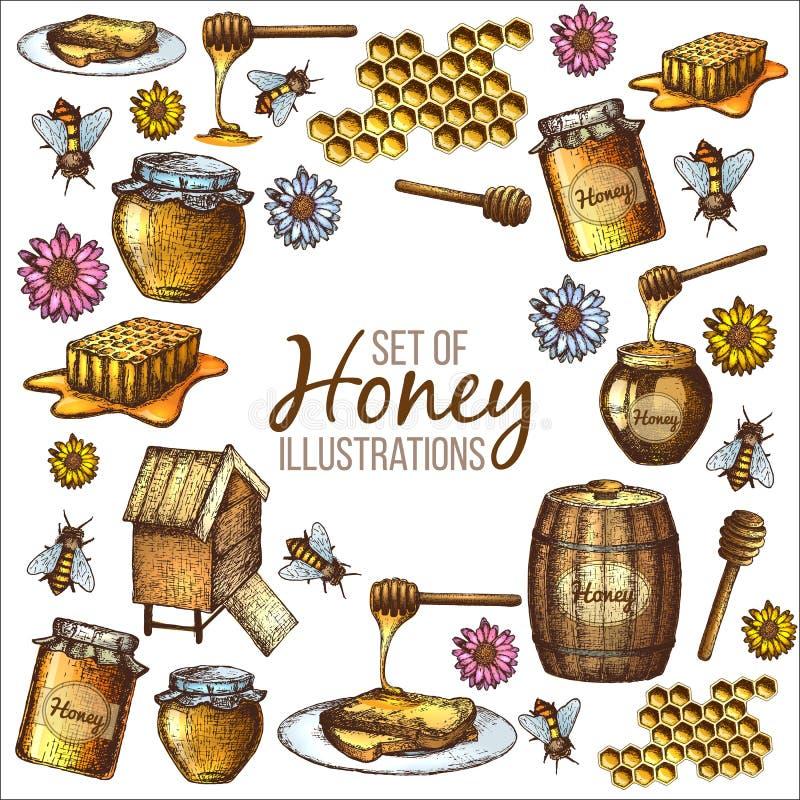 Ensemble de croquis de miel illustration stock