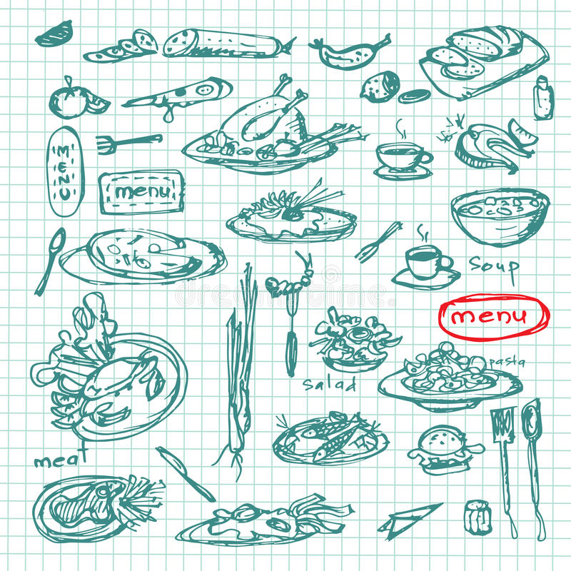 Ensemble de croquis de repas Collection tirée par la main décorative de menu de restaurant Vecteur im d'ENV illustration de vecteur