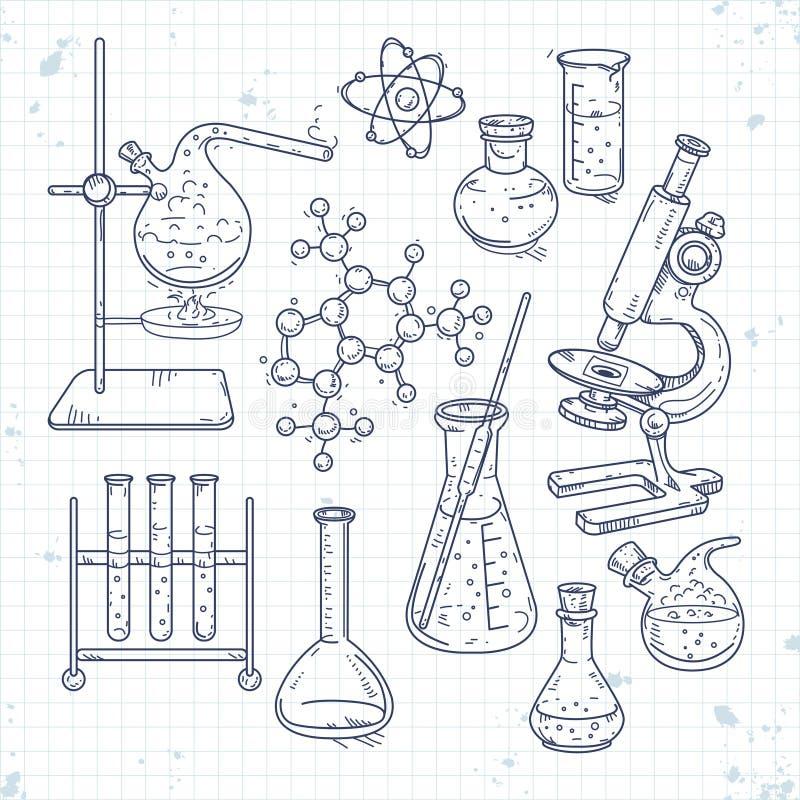 Ensemble de croquis de divers dispositifs pour des expériences chimiques illustration de vecteur