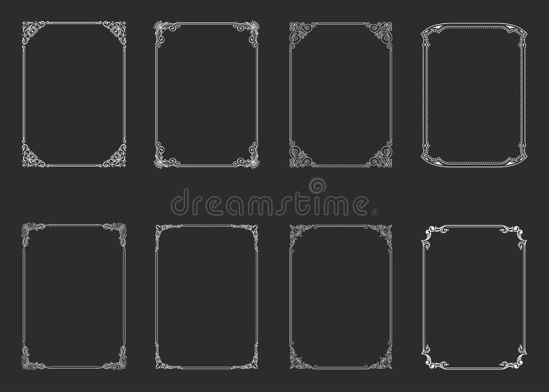 Ensemble de cru de cadres calligraphiques Frontière noire et blanche de vecteur de l'invitation, diplom, certificat, carte postal illustration stock