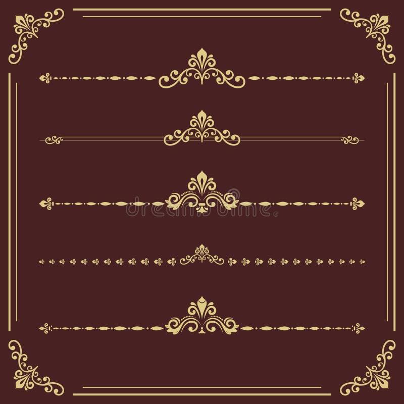 Ensemble de cru d'éléments d'or horizontaux de vecteur illustration stock