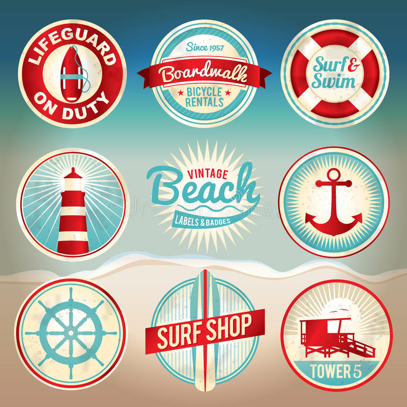Labels et insignes de plage de cru illustration libre de droits