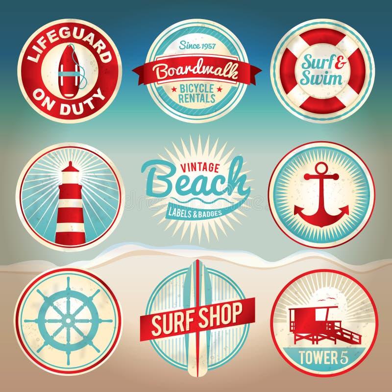 Labels et insignes de plage de cru illustration libre de droits
