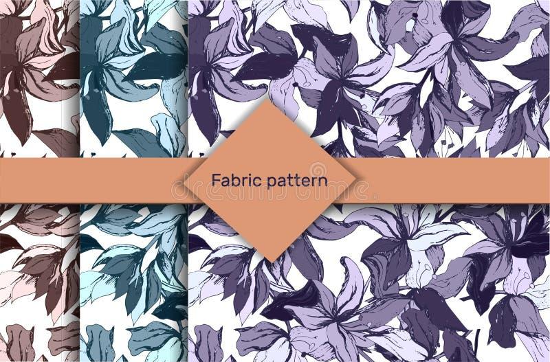 Ensemble de cru de modèles floraux Placez des modèles avec des couleurs foncées sur un fond blanc Une série de textures sans fin  illustration libre de droits