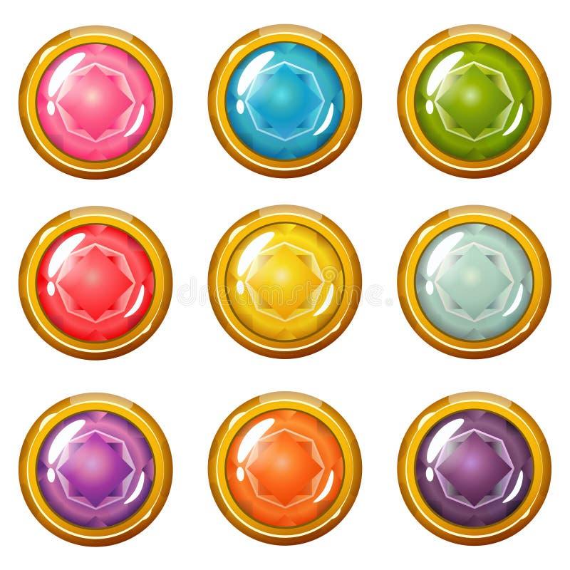 Ensemble de Crystal Buttons D'or-plaqué intelligent illustration stock