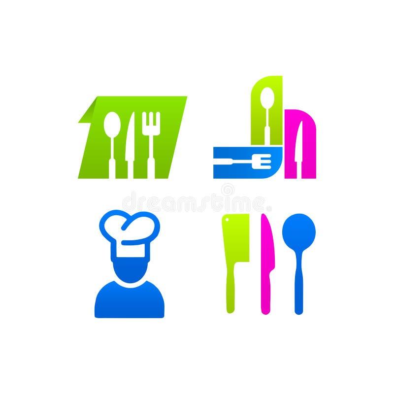 Ensemble de cuisine de cuisinier coloré de menu de signe d'icônes illustration de vecteur