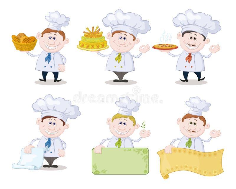 Ensemble de cuisiniers de bande dessinée, chefs illustration de vecteur