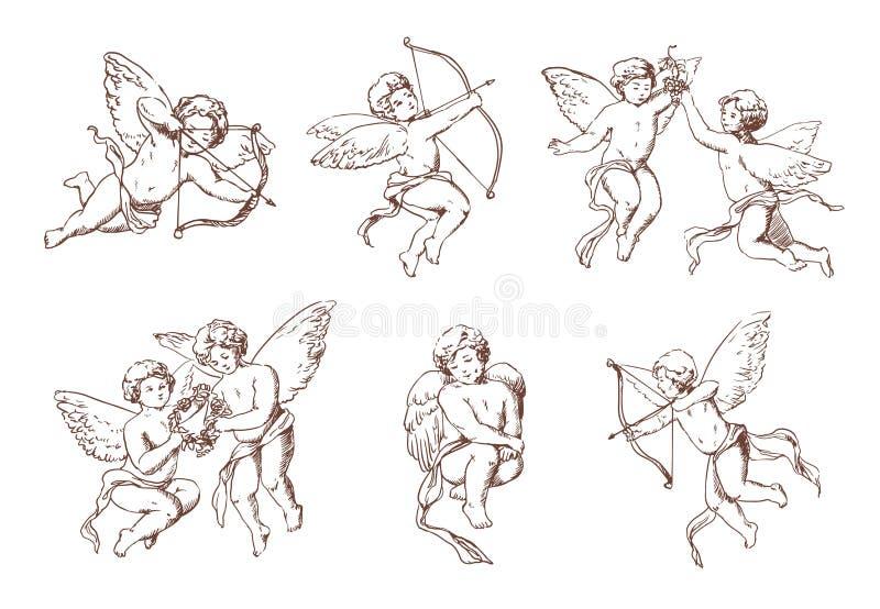 Ensemble de cupidon différent de vintage Divers anges de vol avec les flèches et la collection d'arc Vecteur amur monochrome tiré illustration libre de droits