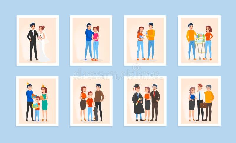 Ensemble de cycle de vie de famille Couples dans l'amour illustration de vecteur