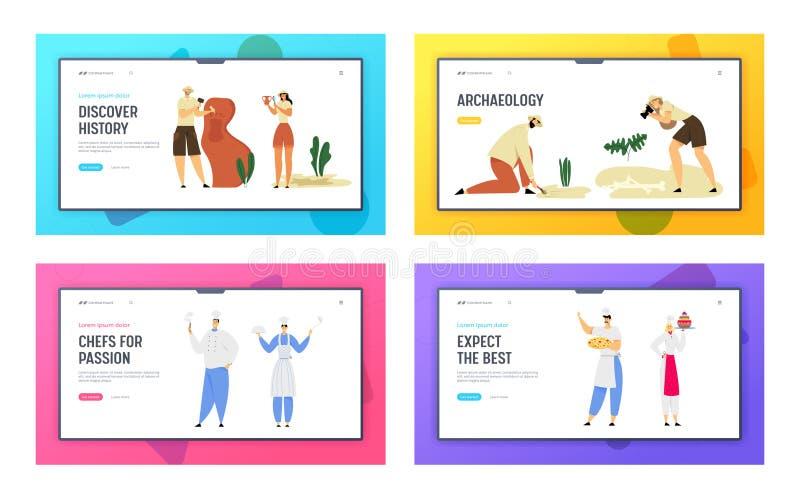 Ensemble de débarquement de page de site Web de travailleurs d'hospitalité de personnel de restaurant et de paléontologie d'arché illustration stock