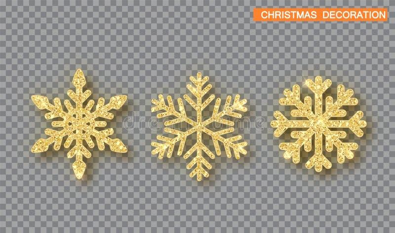 Ensemble de décoration de Noël d'or Flocon de neige couvert par scintillement d'or illustration libre de droits