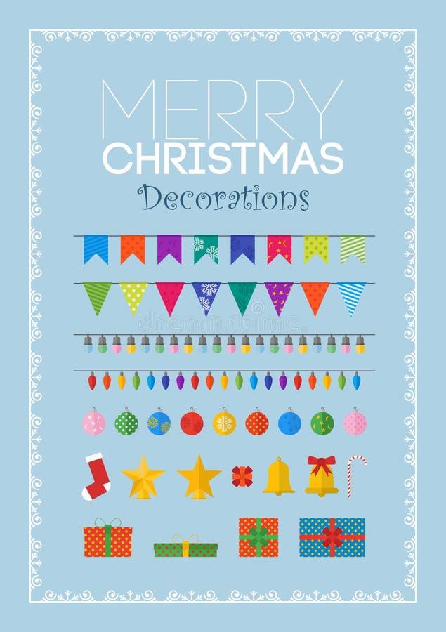 Ensemble de décorations et de cadeaux de Noël image libre de droits