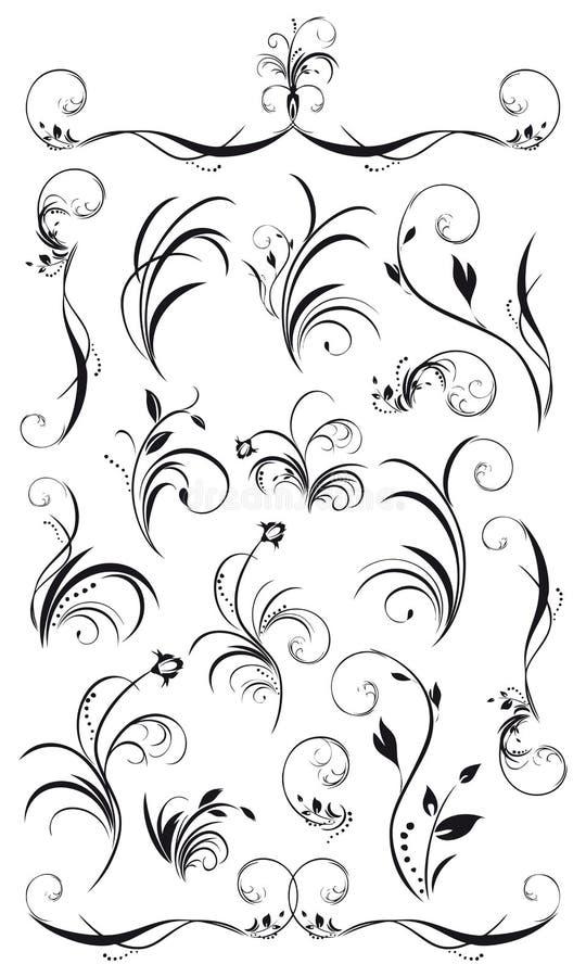 Ensemble de décorations et de guirlandes florales illustration stock