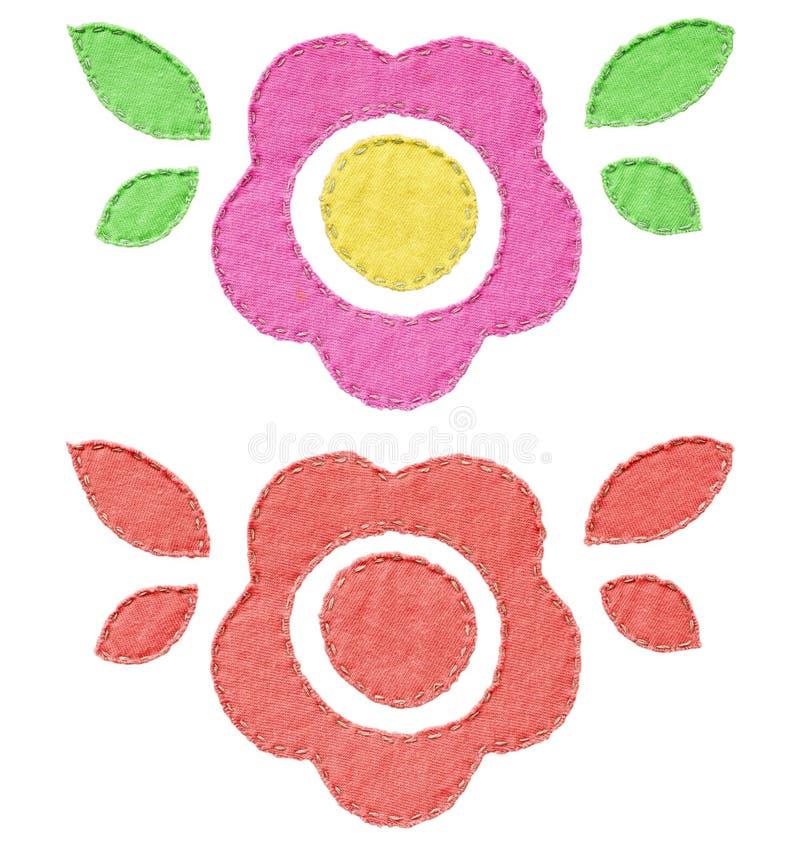 Ensemble de décorations faites main de fleur de textile image stock