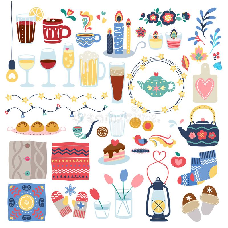 Ensemble de décorations de style de Hygge illustration stock