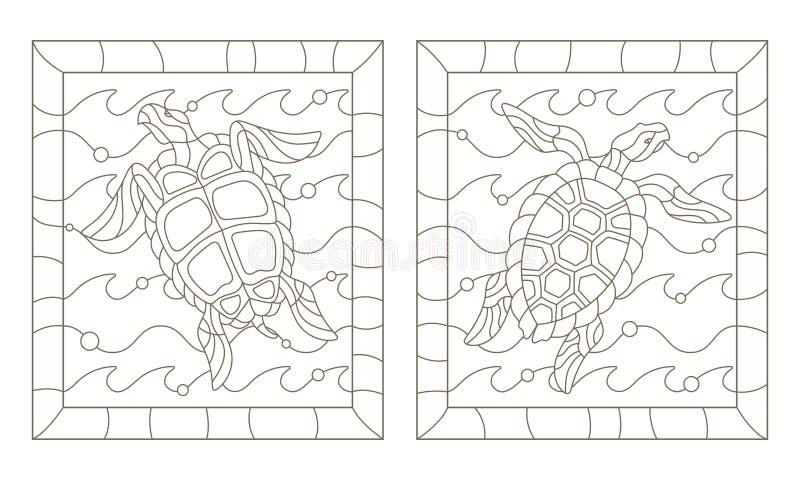 Ensemble de découpe avec des tortues de mer dans les vagues, un contour foncé sur un fond blanc illustration de vecteur