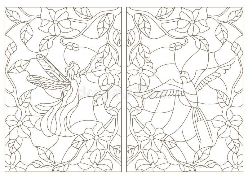 Ensemble de découpe d'illustrations dans le style, l'oiseau et la fée en verre souillé sur le fond des fleurs illustration libre de droits