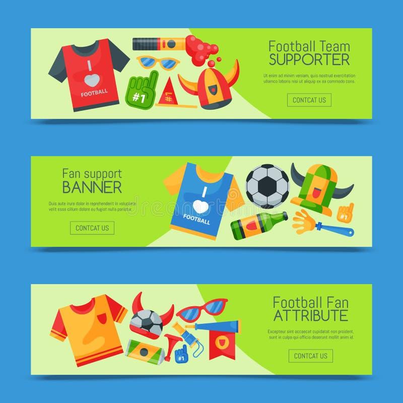 Ensemble de défenseur d'équipe de football d'illustration de vecteur de bannières Attribut de supporter du football, accessoir illustration stock