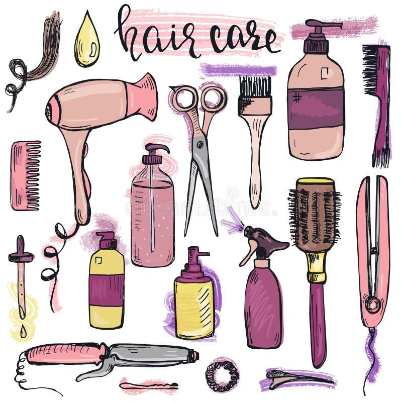 Ensemble de dénommer tiré par la main de cheveux et produits et articles de soin illustration stock