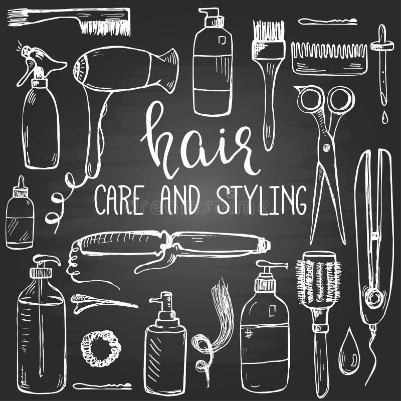 Ensemble de dénommer tiré par la main de cheveux et produits et articles de soin sur le tableau noir illustration de vecteur