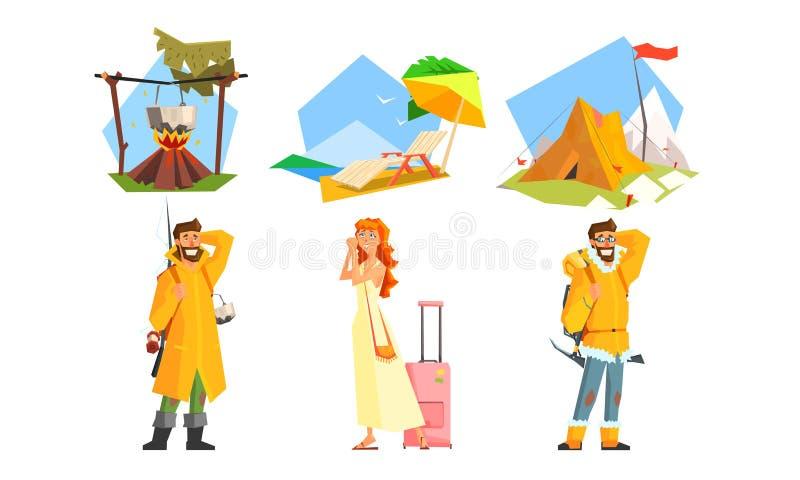 Ensemble de déplacement de personnes, voyage actif, homme trimardant avec des sacs à dos, camping, pêche, fille partant en vacanc illustration libre de droits