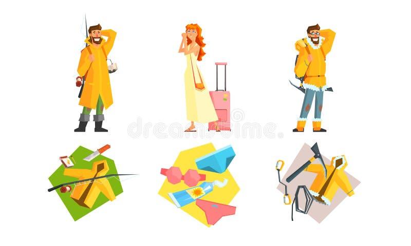 Ensemble de déplacement de personnes, voyage actif, homme trimardant avec des sacs à dos, camping, pêche, fille partant en vacanc illustration stock