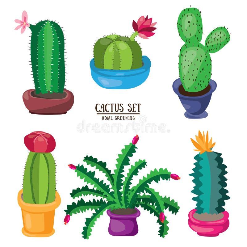 Ensemble de désert de cactus de bande dessinée Illustration plate de vecteur Cactus de floraison verts sur le fond blanc illustration de vecteur