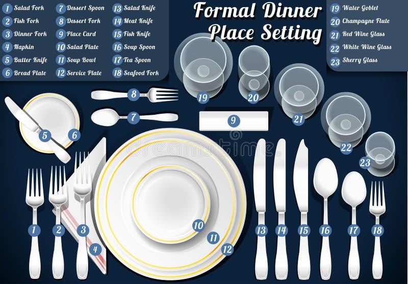 Ensemble de dîner formel de couvert illustration stock