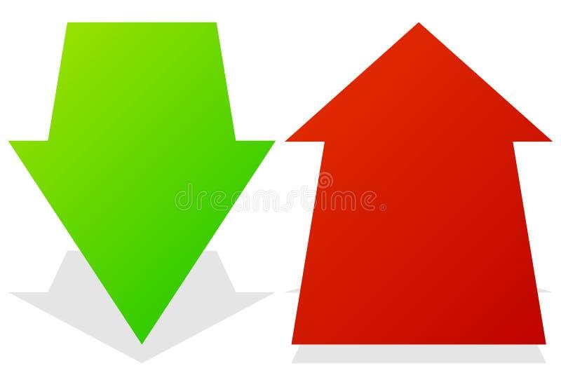Ensemble de 3d en bas des flèches dans la perspective Flèches vertes et rouges illustration de vecteur