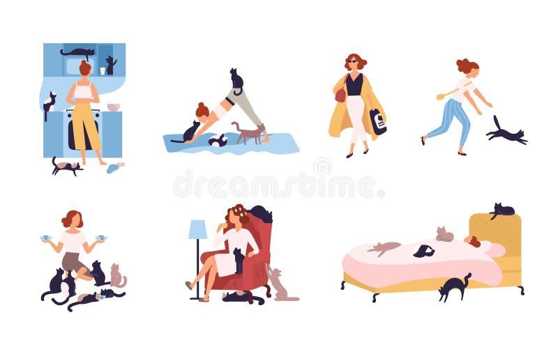 Ensemble de dame folle de chat exerçant ses activités quotidiennes entouré par des animaux familiers - dormant, faisant le yoga,  illustration stock