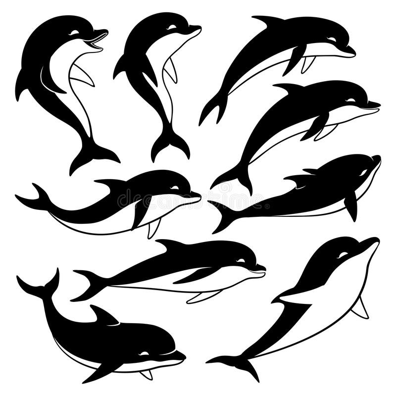 Ensemble de dauphins noirs illustration libre de droits