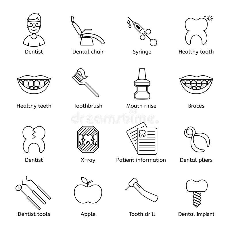 Ensemble de dentaire dans la ligne style mince moderne Symboles noirs de haute qualité de dents d'ensemble pour la conception de  illustration libre de droits