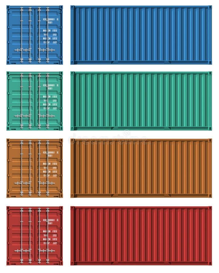 Ensemble de descripteurs de conteneur de cargaison illustration de vecteur